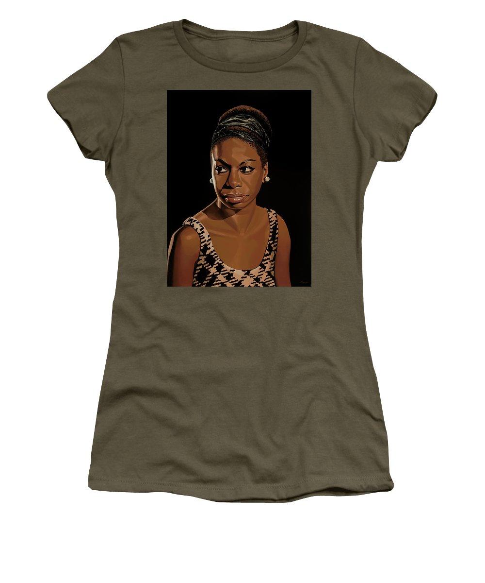 Nina Simone Women's T-Shirt featuring the painting Nina Simone Painting 2 by Paul Meijering