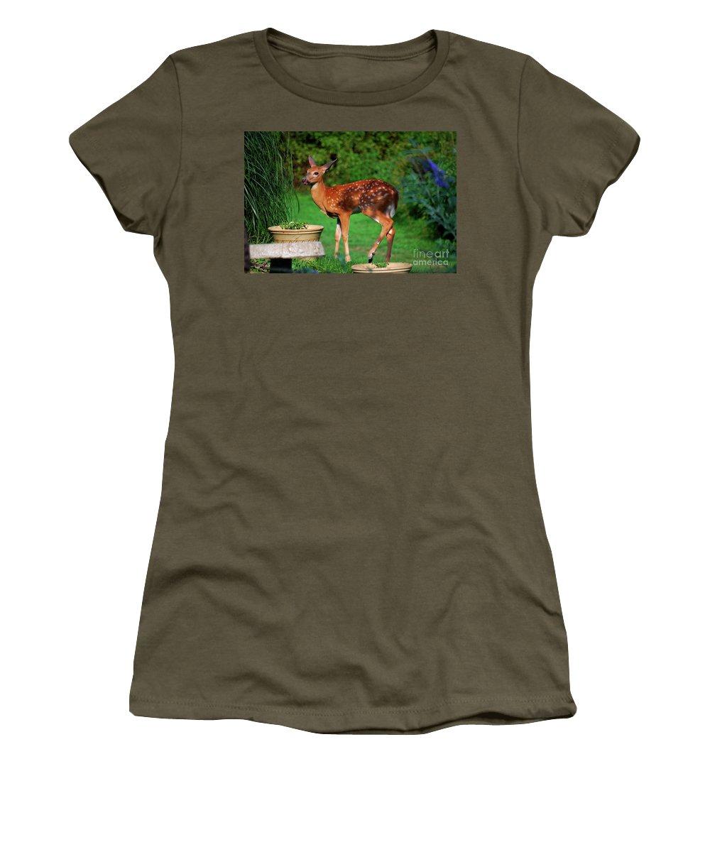 Fawn Women's T-Shirt featuring the photograph No I'm Not Bambi by Lori Tambakis