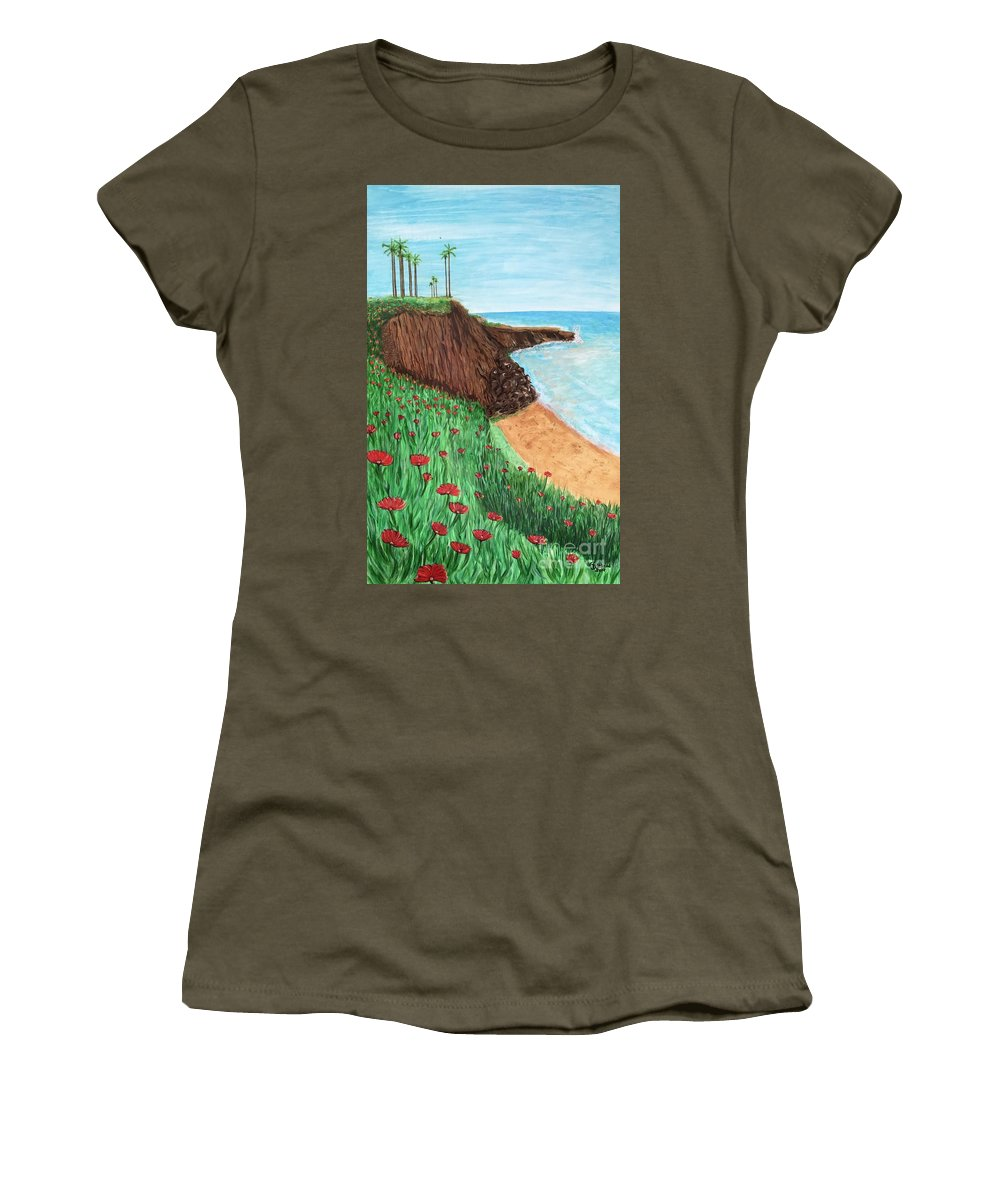 Ocean Women's T-Shirt featuring the painting No Surf by Heike Althaus