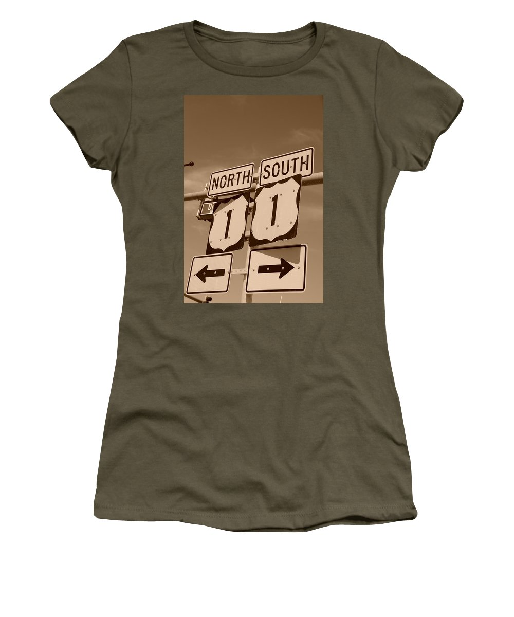 Sepia Women's T-Shirt (Athletic Fit) featuring the photograph North South 1 by Rob Hans