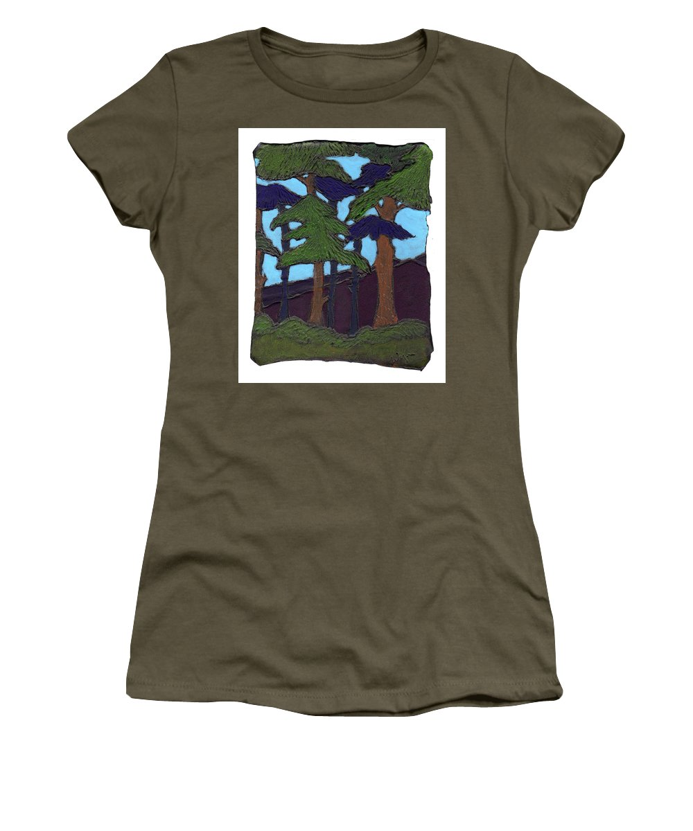 Tree Women's T-Shirt featuring the painting Northern Woods by Wayne Potrafka