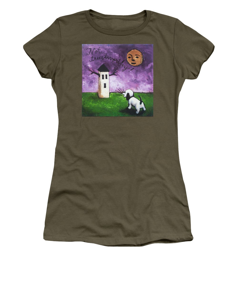 Dog Women's T-Shirt featuring the painting Not Trustworthy by Pauline Lim