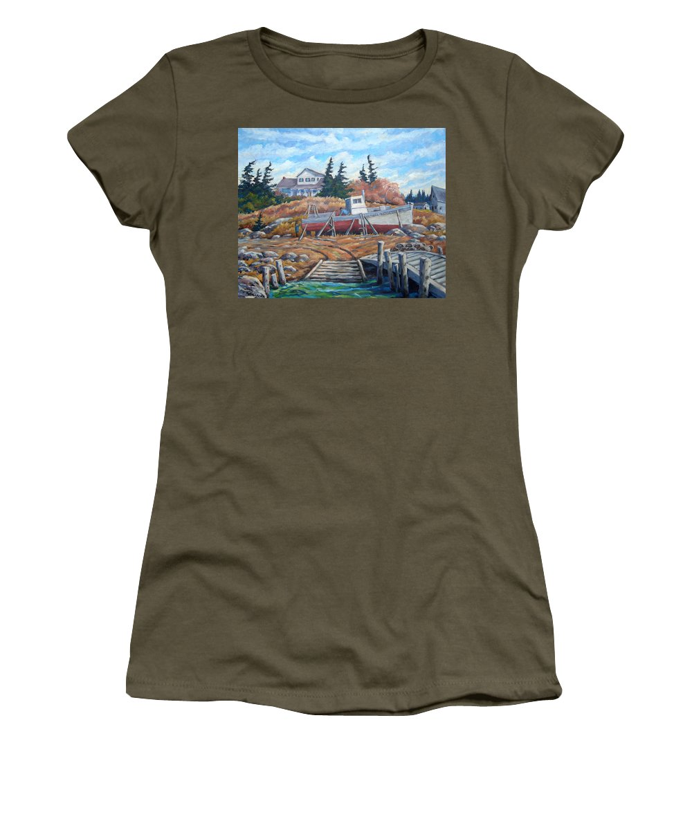 Boat Women's T-Shirt (Athletic Fit) featuring the painting Novia Scotia by Richard T Pranke