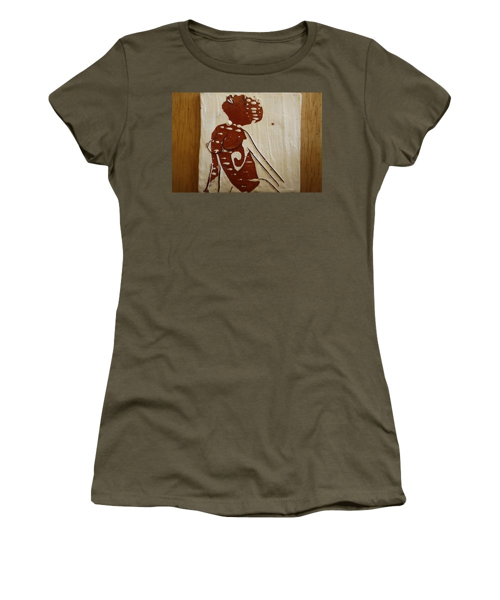 Jesus Women's T-Shirt (Athletic Fit) featuring the ceramic art Nude 13 - Tile by Gloria Ssali