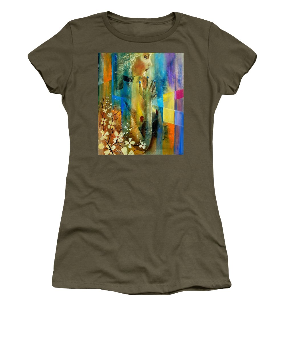 Nude Women's T-Shirt (Athletic Fit) featuring the painting Nude 5609082 by Pol Ledent
