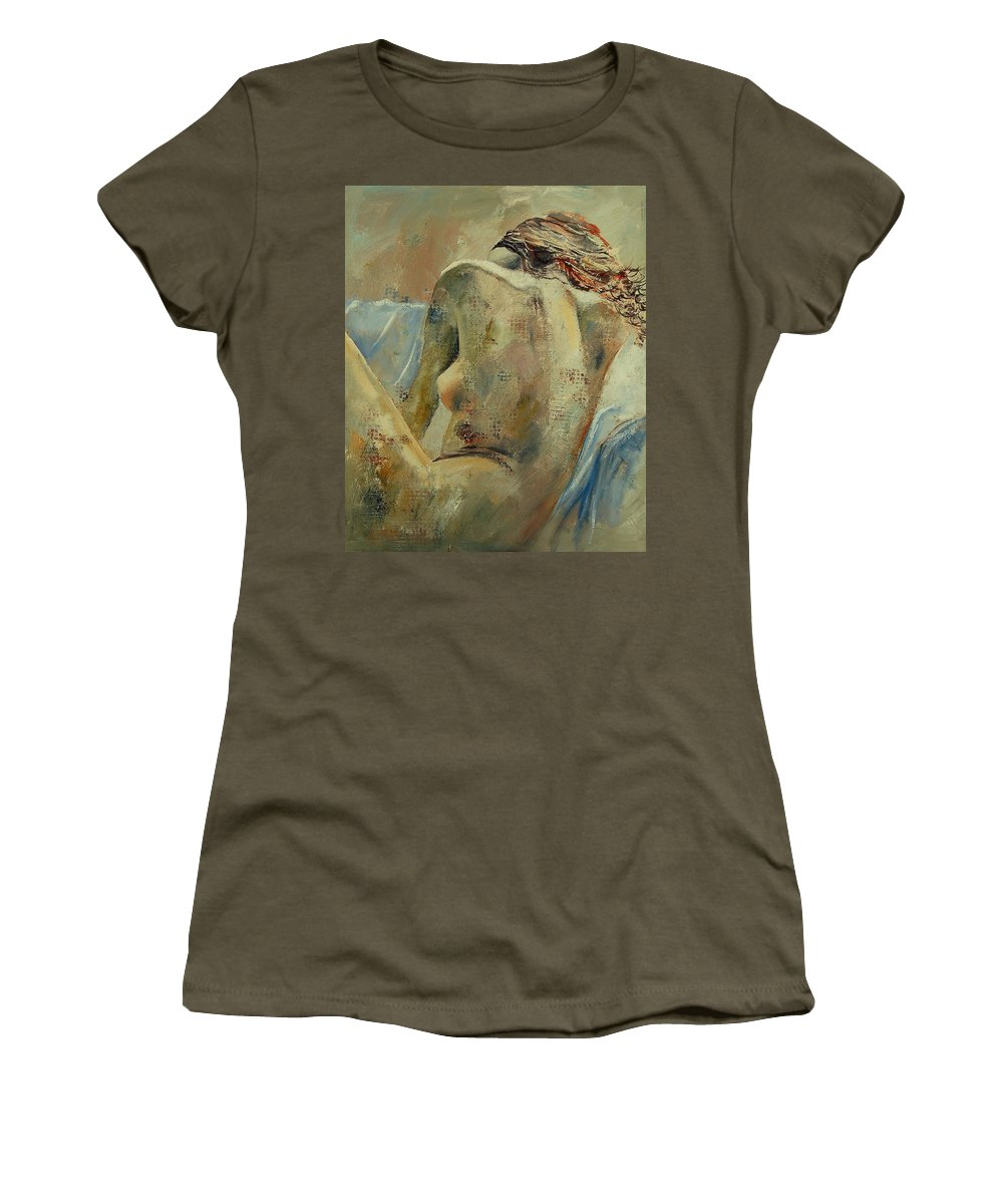 Women's T-Shirt (Athletic Fit) featuring the painting Nude 56905092 by Pol Ledent