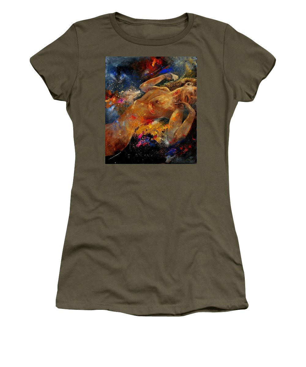 Nude Women's T-Shirt (Athletic Fit) featuring the painting Nude 67 0407 by Pol Ledent