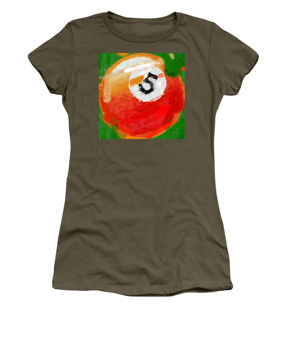 Five Women's T-Shirt featuring the photograph Number Five Billiards Ball Abstract by David G Paul