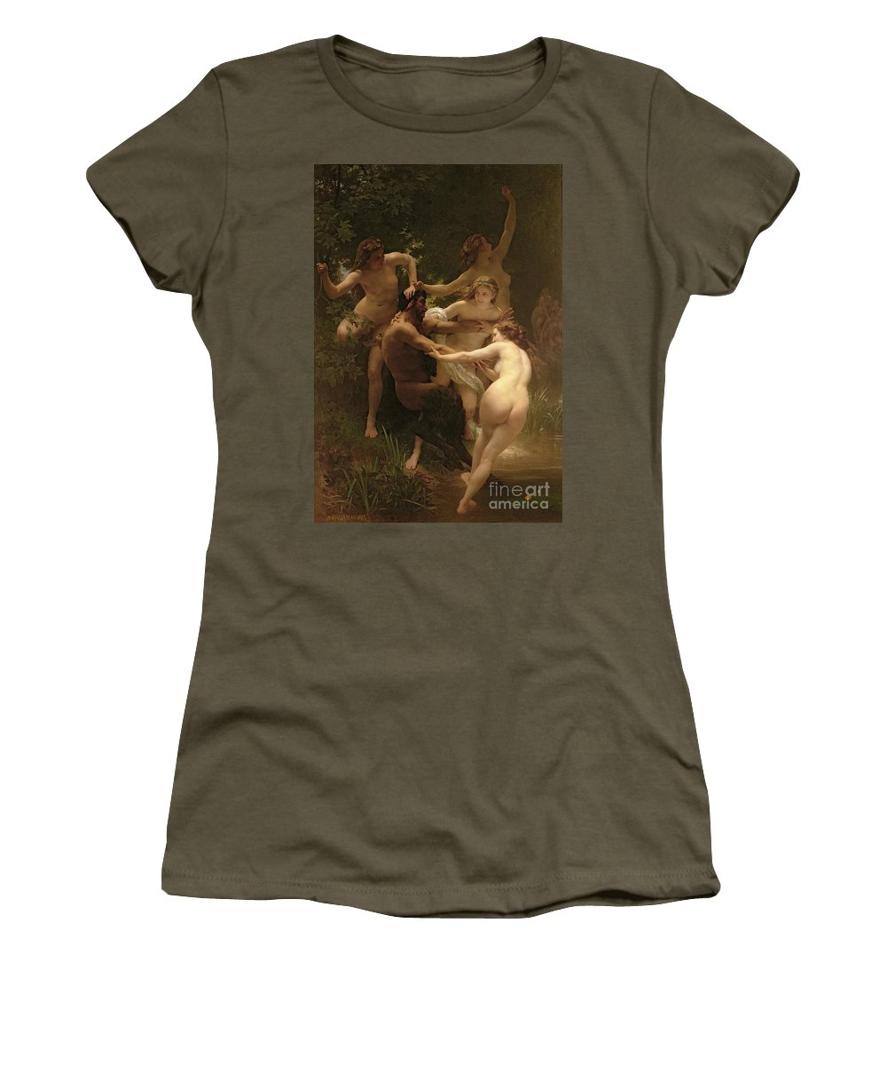 Nymphs And Satyr Women's T-Shirt featuring the painting Nymphs And Satyr by William Adolphe Bouguereau