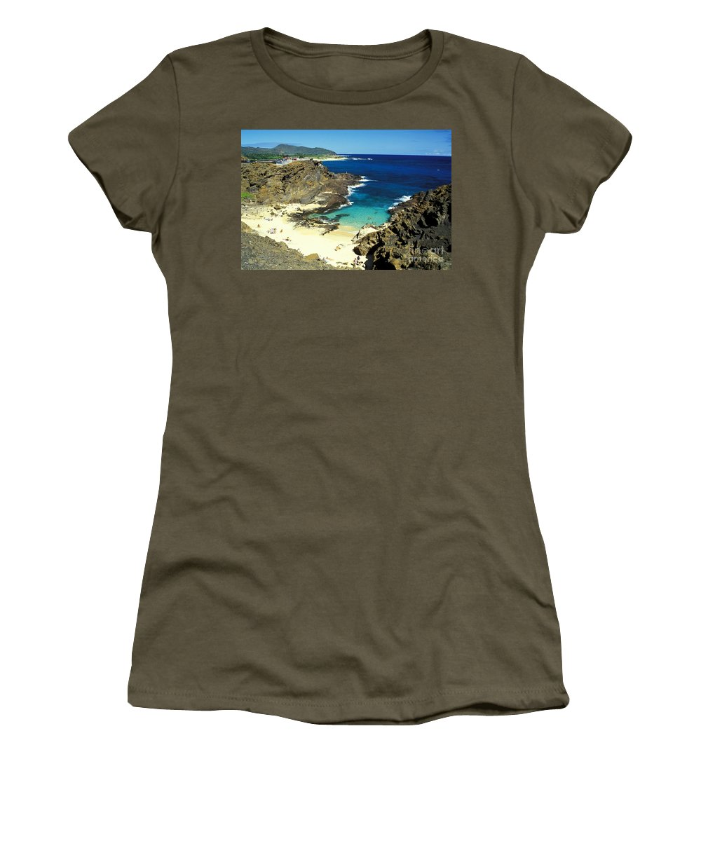 Beach Women's T-Shirt featuring the photograph Oahu, Beach Goers by Peter French - Printscapes