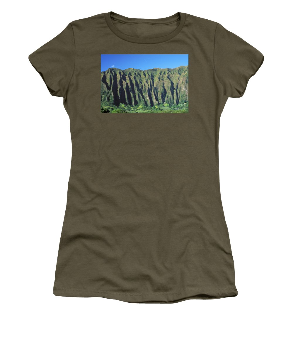 Blue Women's T-Shirt featuring the photograph Oahu Rugged And Lush by Peter French - Printscapes