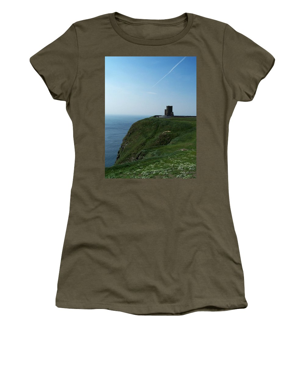 Irish Women's T-Shirt (Athletic Fit) featuring the photograph O'brien's Tower At The Cliffs Of Moher Ireland by Teresa Mucha