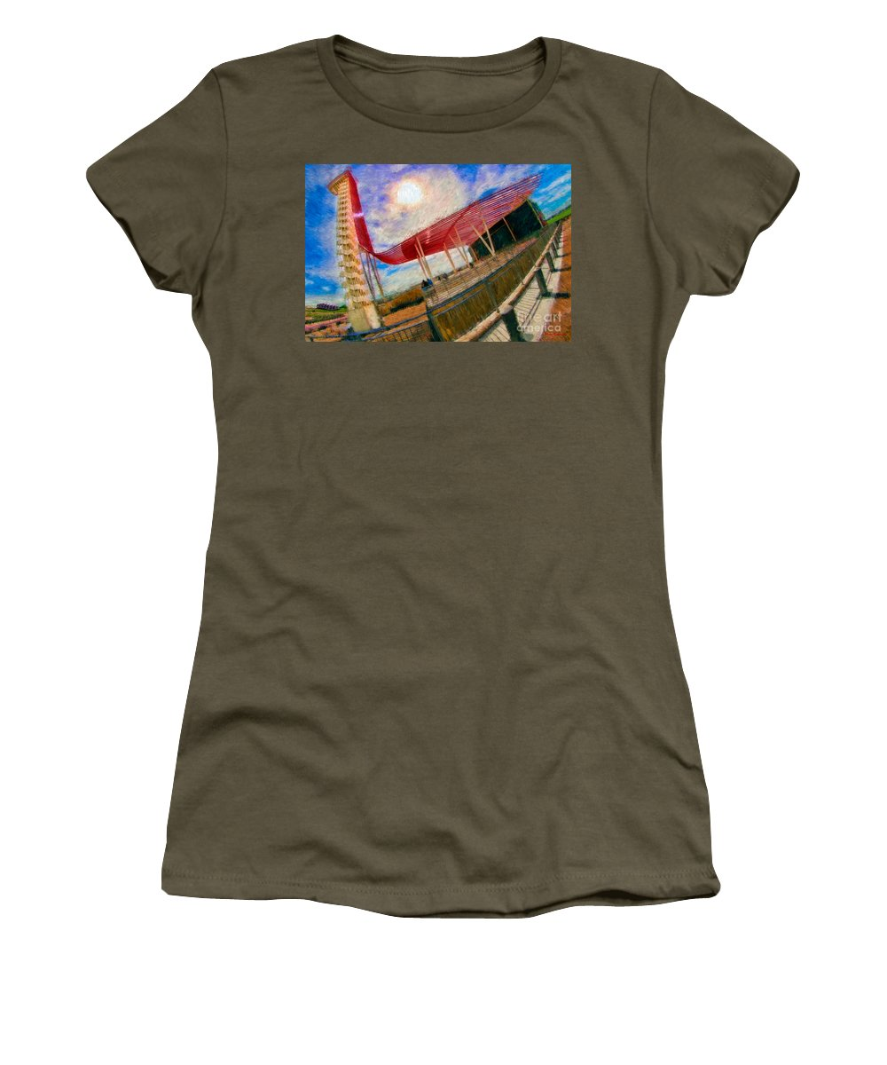 Observation Tower � Circuit Of The Americas Women's T-Shirt featuring the photograph Observation Tower Circuit Of The Americas by Blake Richards