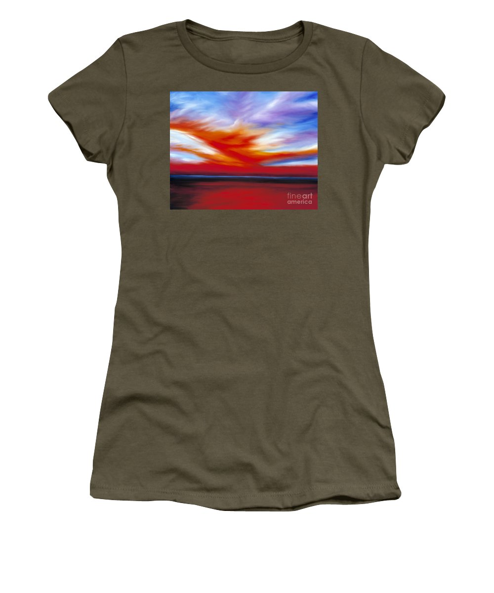 Seascape Women's T-Shirt featuring the painting October Sky II by James Christopher Hill