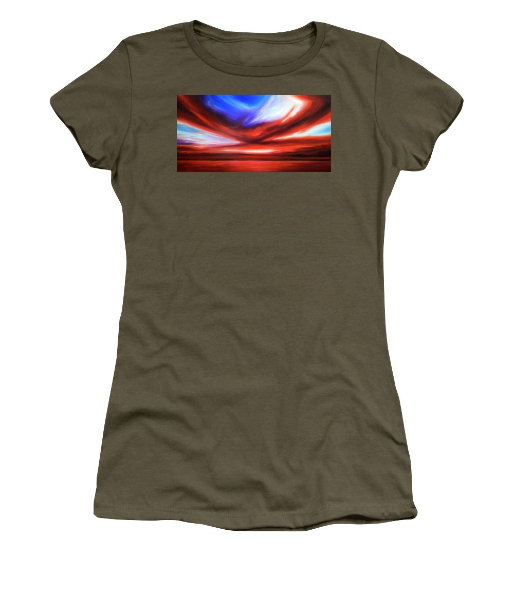 Sunrise; Sunset; Power; Glory; Cloudscape; Skyscape; Purple; Red; Blue; Stunning; Landscape; James C. Hill; James Christopher Hill; Jameshillgallery.com; Ocean; Lakes; Storm; Tornado; Lightning Women's T-Shirt (Athletic Fit) featuring the painting October Sky V by James Christopher Hill