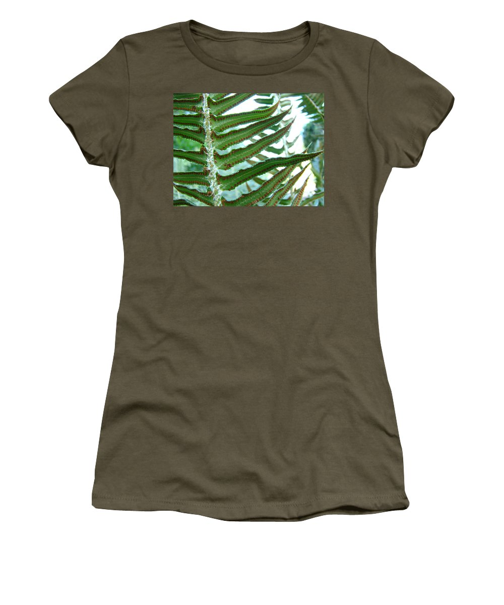 Fern Women's T-Shirt (Athletic Fit) featuring the photograph Office Art Ferns Green Forest Fern Giclee Prints Baslee Troutman by Baslee Troutman