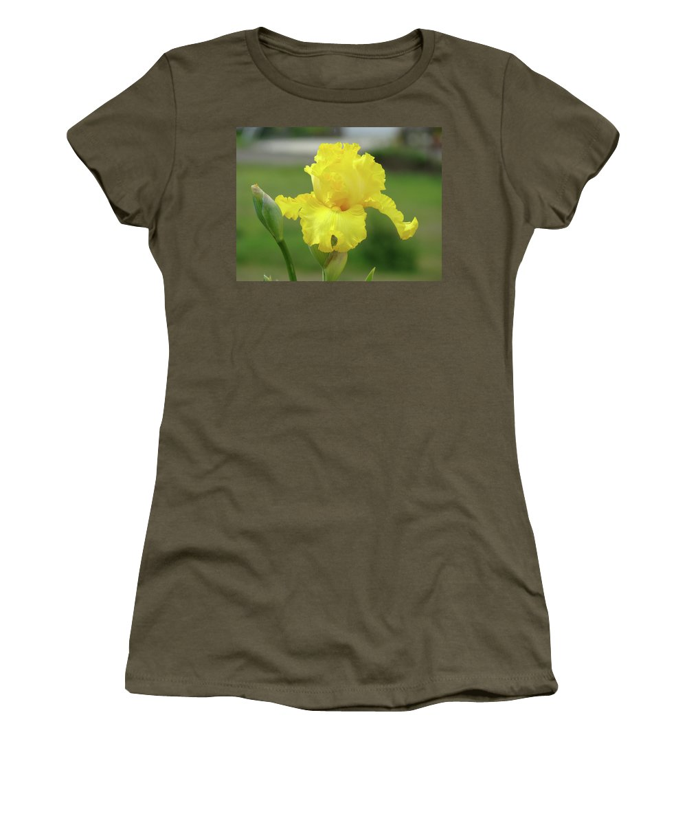 Iris Women's T-Shirt (Athletic Fit) featuring the photograph Office Art Irises Yellow Iris Flower Giclee Prints Baslee Troutman by Baslee Troutman