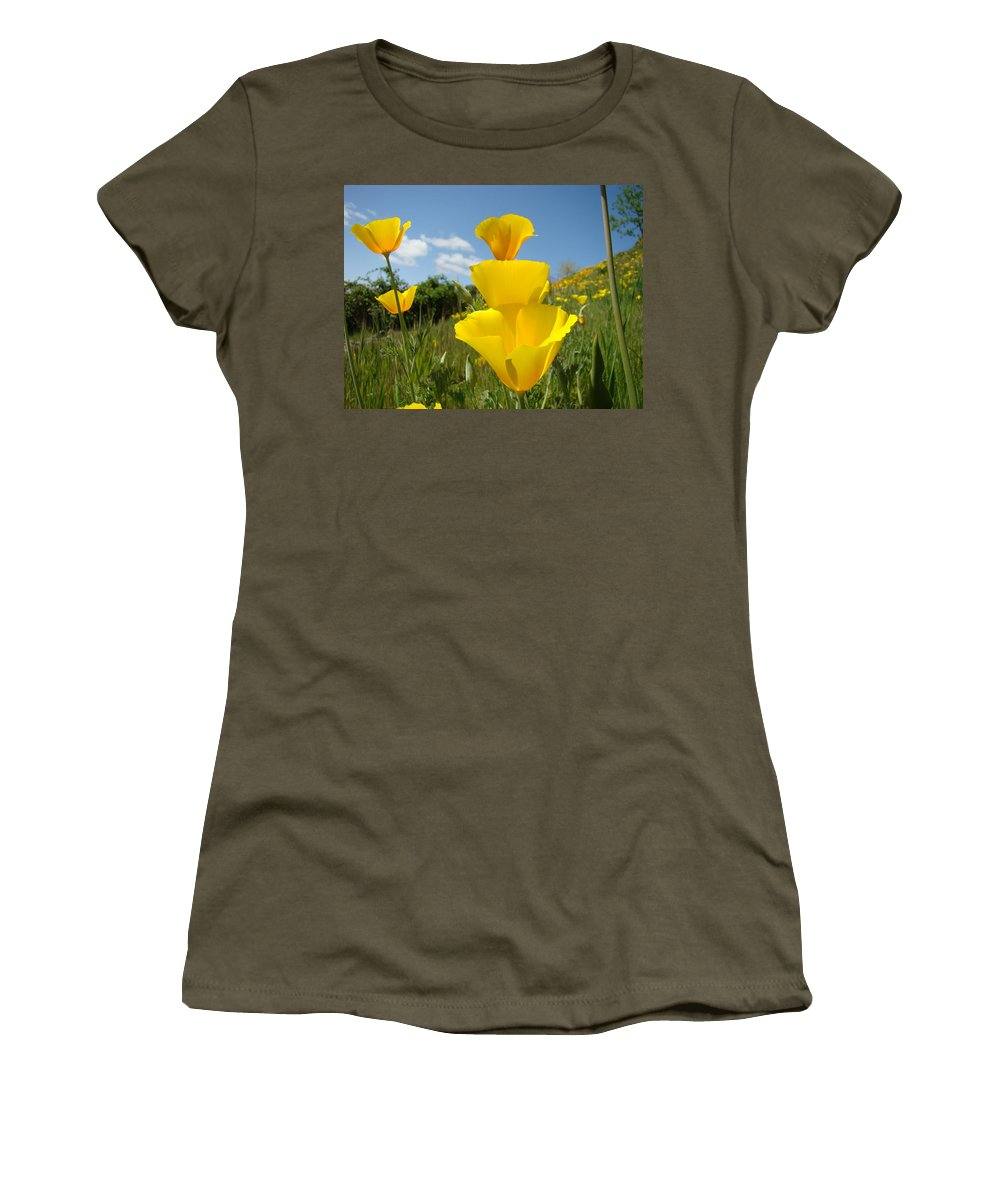 �poppies Art� Women's T-Shirt (Athletic Fit) featuring the photograph Office Art Poppy Flowers Poppies Giclee Prints Baslee Troutman by Baslee Troutman