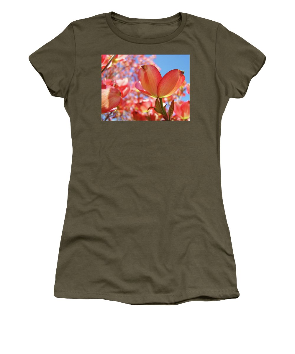Dogwood Women's T-Shirt (Athletic Fit) featuring the photograph Office Art Prints Pink Dogwood Tree Flowers 4 Giclee Prints Baslee Troutman by Baslee Troutman