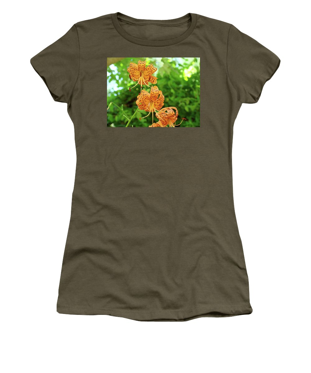 Lilies Women's T-Shirt (Athletic Fit) featuring the photograph Office Art Prints Tiger Lilies Flowers Nature Giclee Prints Baslee Troutman by Baslee Troutman