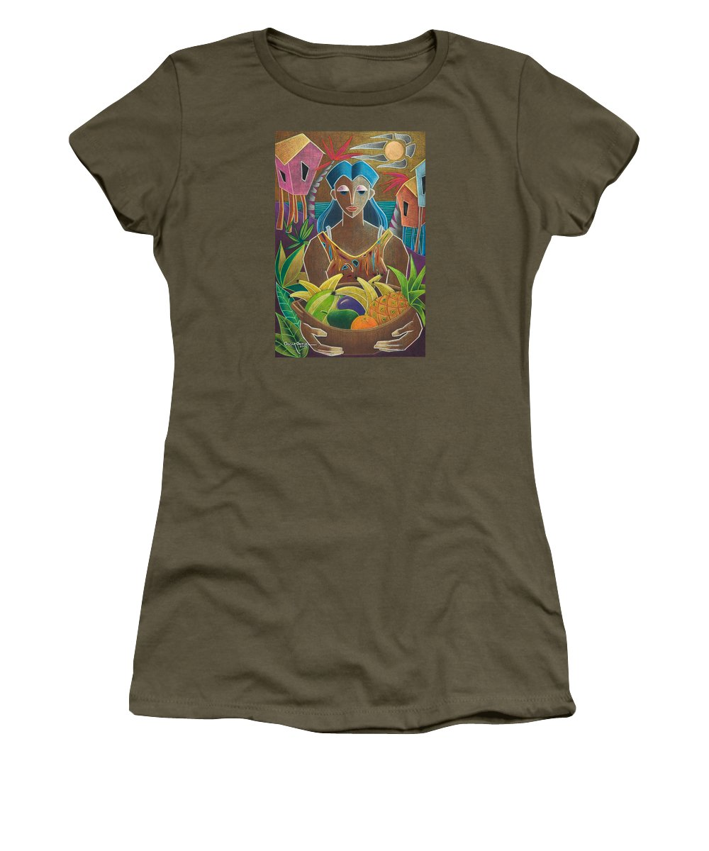 Female Women's T-Shirt (Athletic Fit) featuring the painting Ofrendas De Mi Tierra by Oscar Ortiz