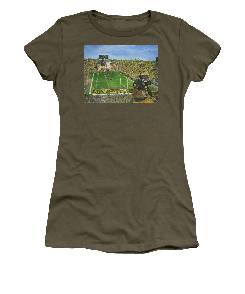 Michigan Women's T-Shirt (Athletic Fit) featuring the painting Ohio State Vs. Michigan 100th Game by Travis Day