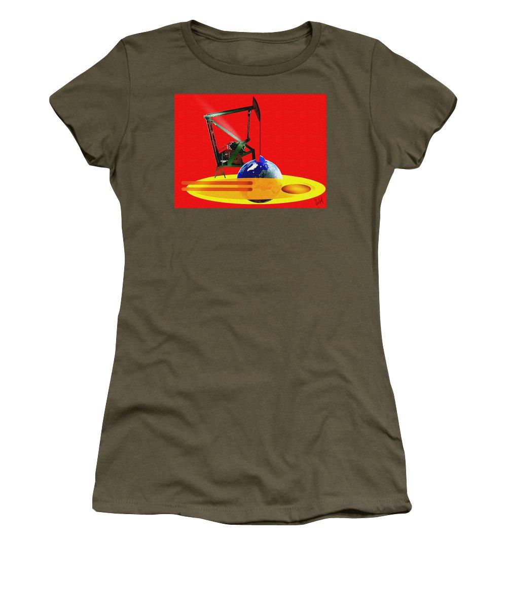 Urgent Women's T-Shirt featuring the digital art oil by Helmut Rottler