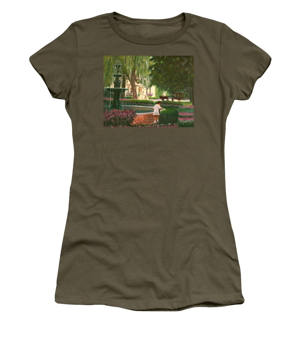 Savannah; Fountain; Child; House Women's T-Shirt (Junior Cut) featuring the painting Old And Young Of Savannah by Ben Kiger