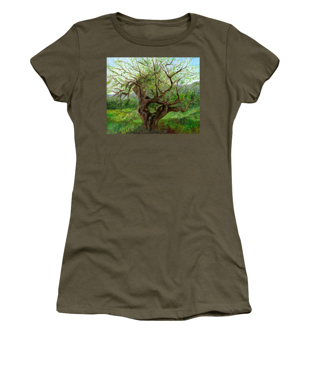 Apple Tree Women's T-Shirt featuring the painting Old Apple Tree by FT McKinstry