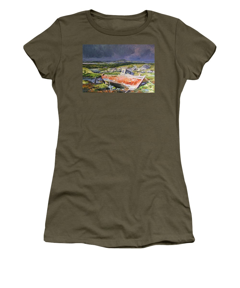 Rustic Boat Women's T-Shirt (Athletic Fit) featuring the painting Old Boat On Shore by Conor McGuire