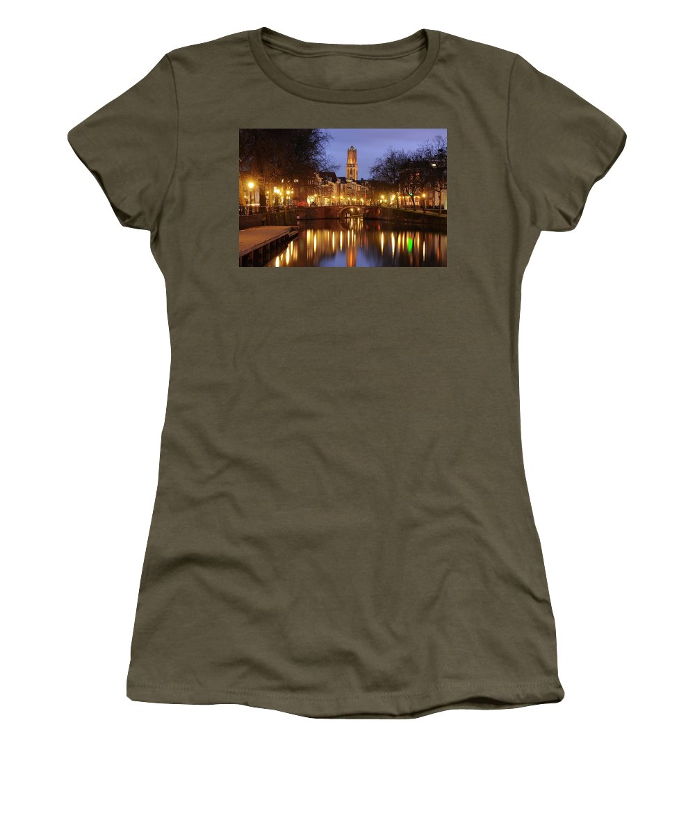 Zandbrug Women's T-Shirt (Athletic Fit) featuring the photograph Old Canal And Dom Tower In Utrecht In The Evening 16 by Merijn Van der Vliet