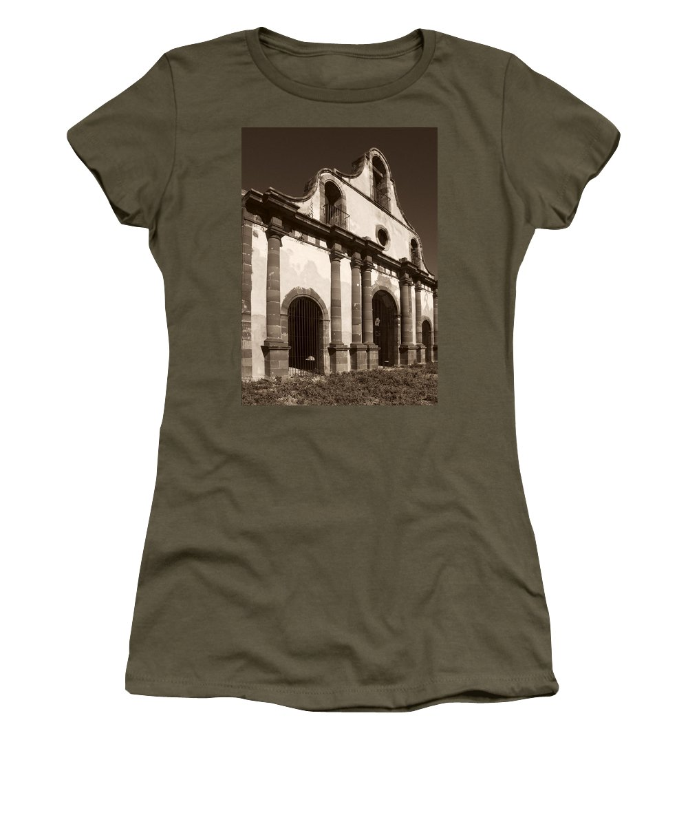Old Guerrero Women's T-Shirt (Athletic Fit) featuring the photograph Old Catholic Mission Ghost Town by Marilyn Hunt