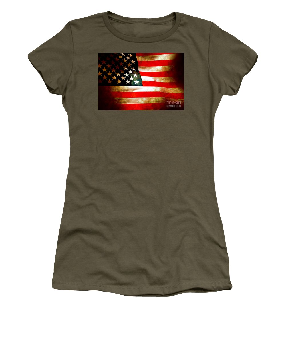 Flag Women's T-Shirt (Athletic Fit) featuring the photograph Old Glory Patriot Flag by Phill Petrovic