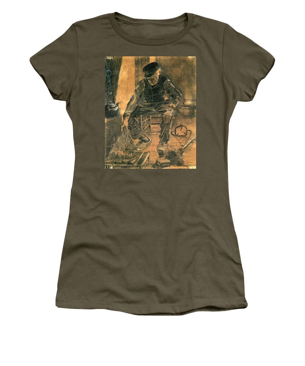 Vincent Van Gogh Women's T-Shirt featuring the painting Old Man At The Fireside by Vincent Van Gogh