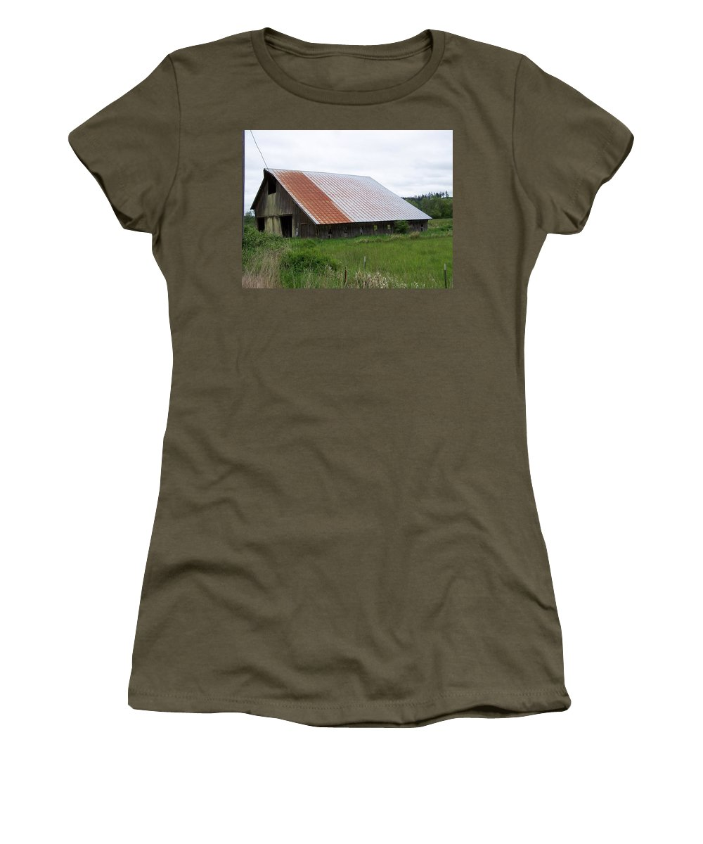 Barn Women's T-Shirt (Athletic Fit) featuring the photograph Old Tin Roof Barn Washington State by Laurie Kidd