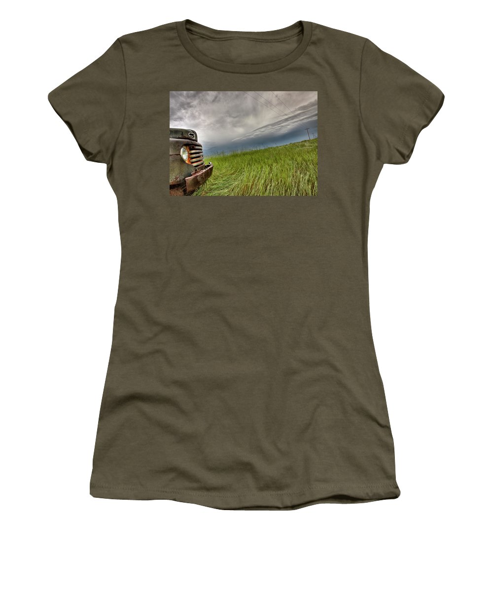 Transportation Women's T-Shirt featuring the photograph Old Vintage Truck On The Prairie by Mark Duffy