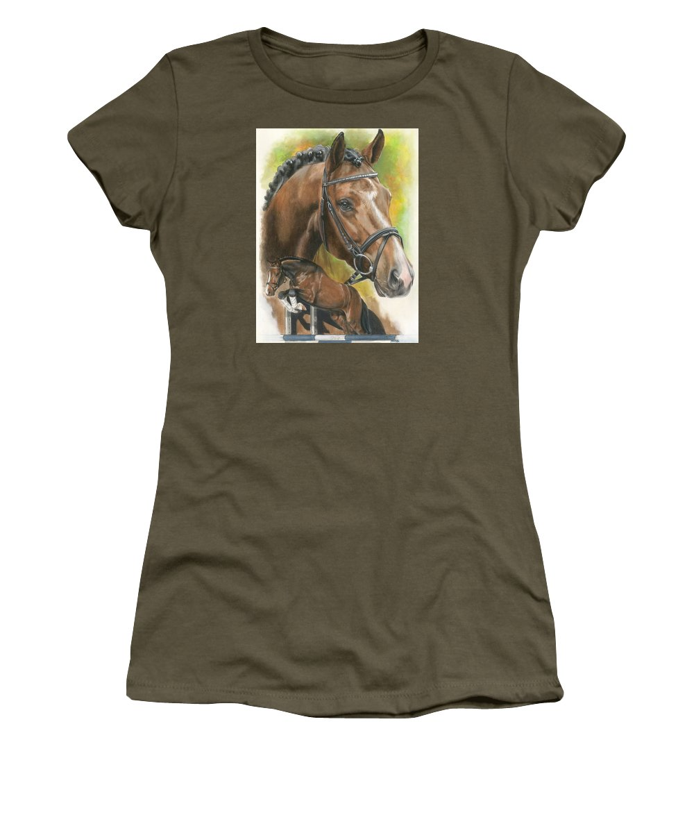 Hunter Jumper Women's T-Shirt (Athletic Fit) featuring the mixed media Oldenberg by Barbara Keith