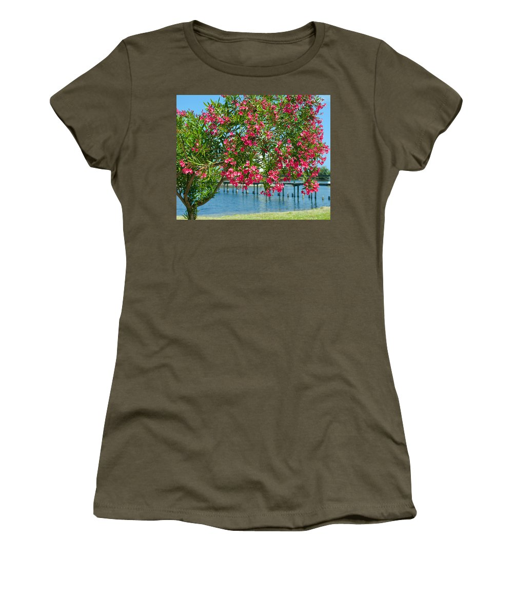 Florida; Indian; River; Melbourne; Nerium; Oleander; Red; Pink; Flower; Bush; Shrub; Poison; Poisono Women's T-Shirt featuring the photograph Oleander On Melbourne Harbor In Florida by Allan Hughes