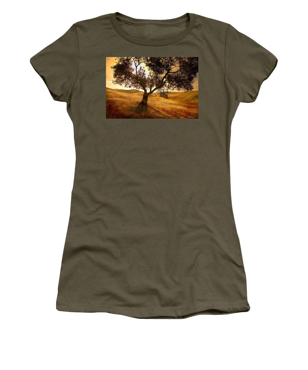 Landscape Women's T-Shirt (Athletic Fit) featuring the photograph Olive Tree Dawn by Mal Bray