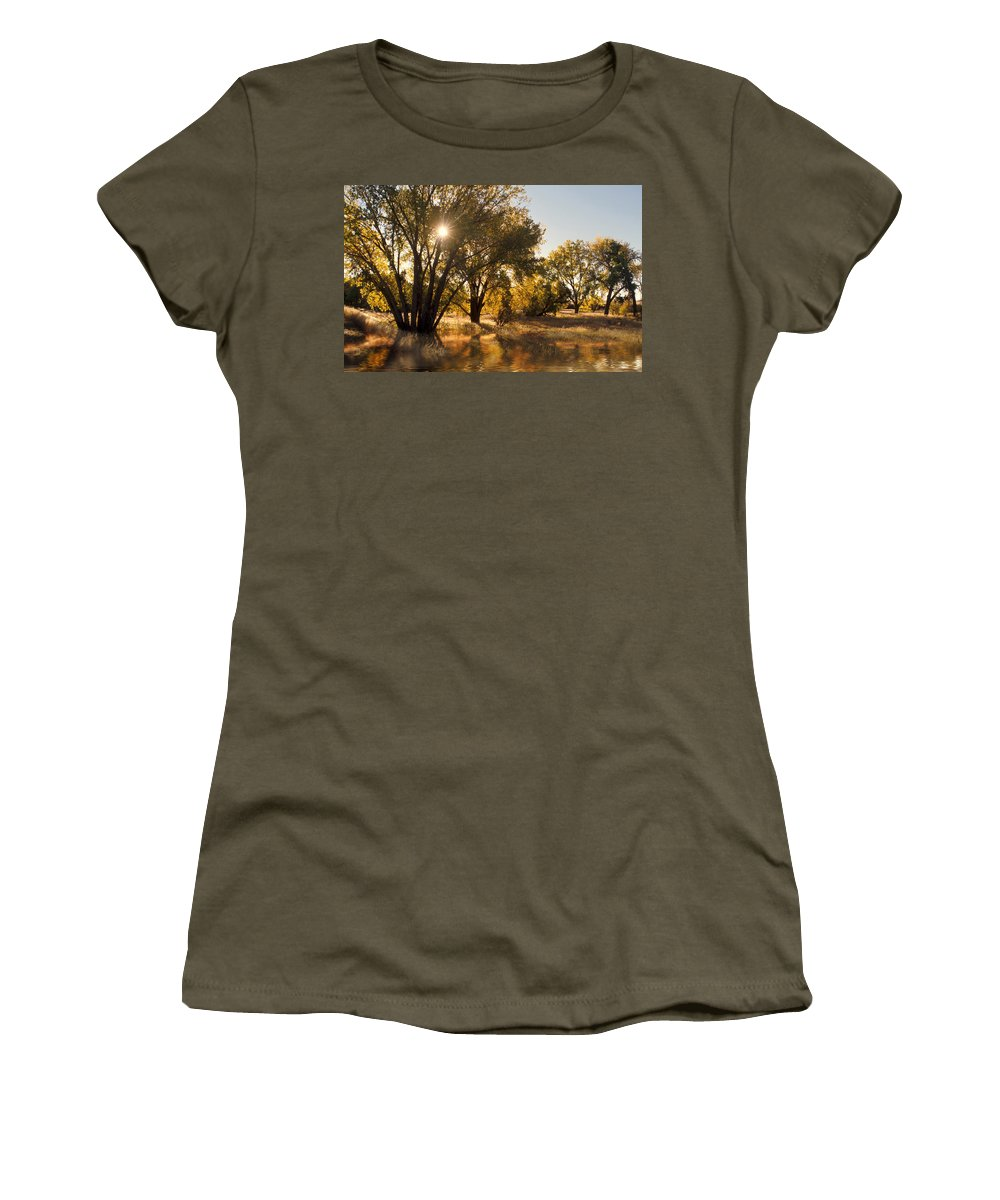 Ftrees Women's T-Shirt (Athletic Fit) featuring the photograph Oliver Sunbursts by Jerry McElroy