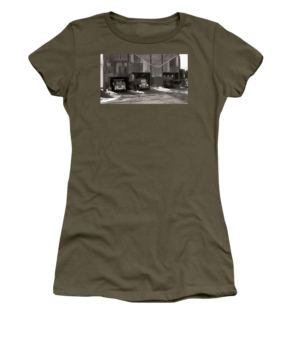 Olyphant Pa Women's T-Shirt featuring the photograph Olyphant Pa Coal Breaker Loading Trucks And Gondola Car Winter 1971 by Arthur Miller