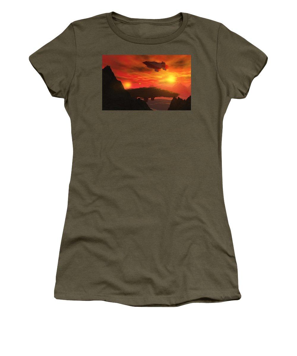 3d Art Women's T-Shirt featuring the digital art On Patrol by David Lane