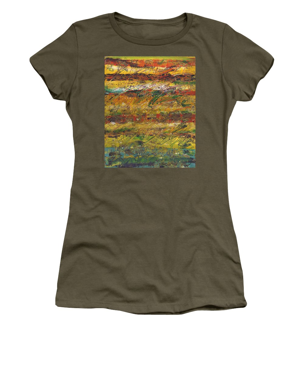 Abstract Women's T-Shirt featuring the painting On Stripe For Diana by Wayne Potrafka