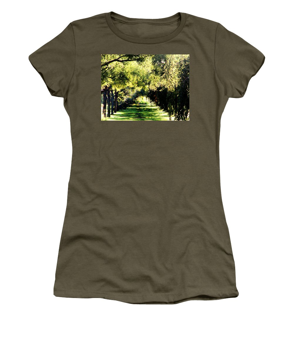 Philadelphia Women's T-Shirt (Athletic Fit) featuring the photograph On The Path by Bill Cannon