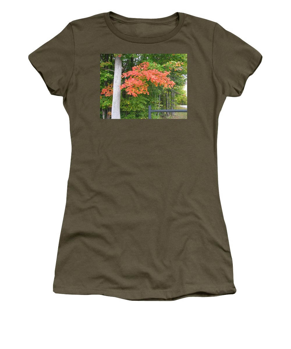 Fall Women's T-Shirt (Athletic Fit) featuring the photograph Onaway by Kelly Mezzapelle