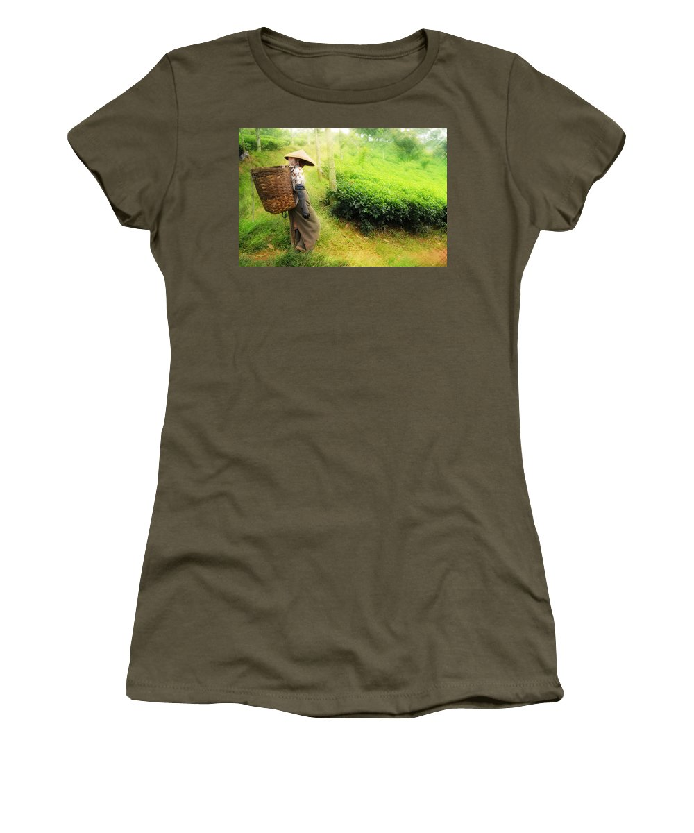 Agriculture Women's T-Shirt (Athletic Fit) featuring the photograph One Day In Tea Plantation by Charuhas Images