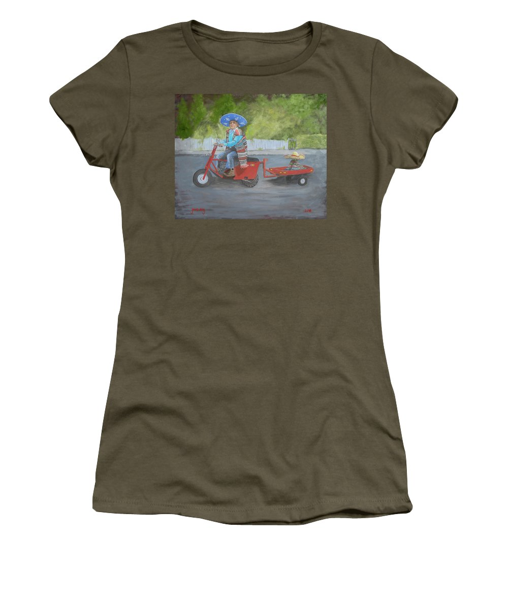 Ignacio Women's T-Shirt featuring the painting One Harry Ride by Jerry McElroy