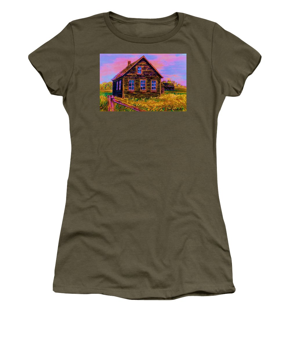 Western Art Women's T-Shirt (Athletic Fit) featuring the painting One Room Schoolhouse by Carole Spandau