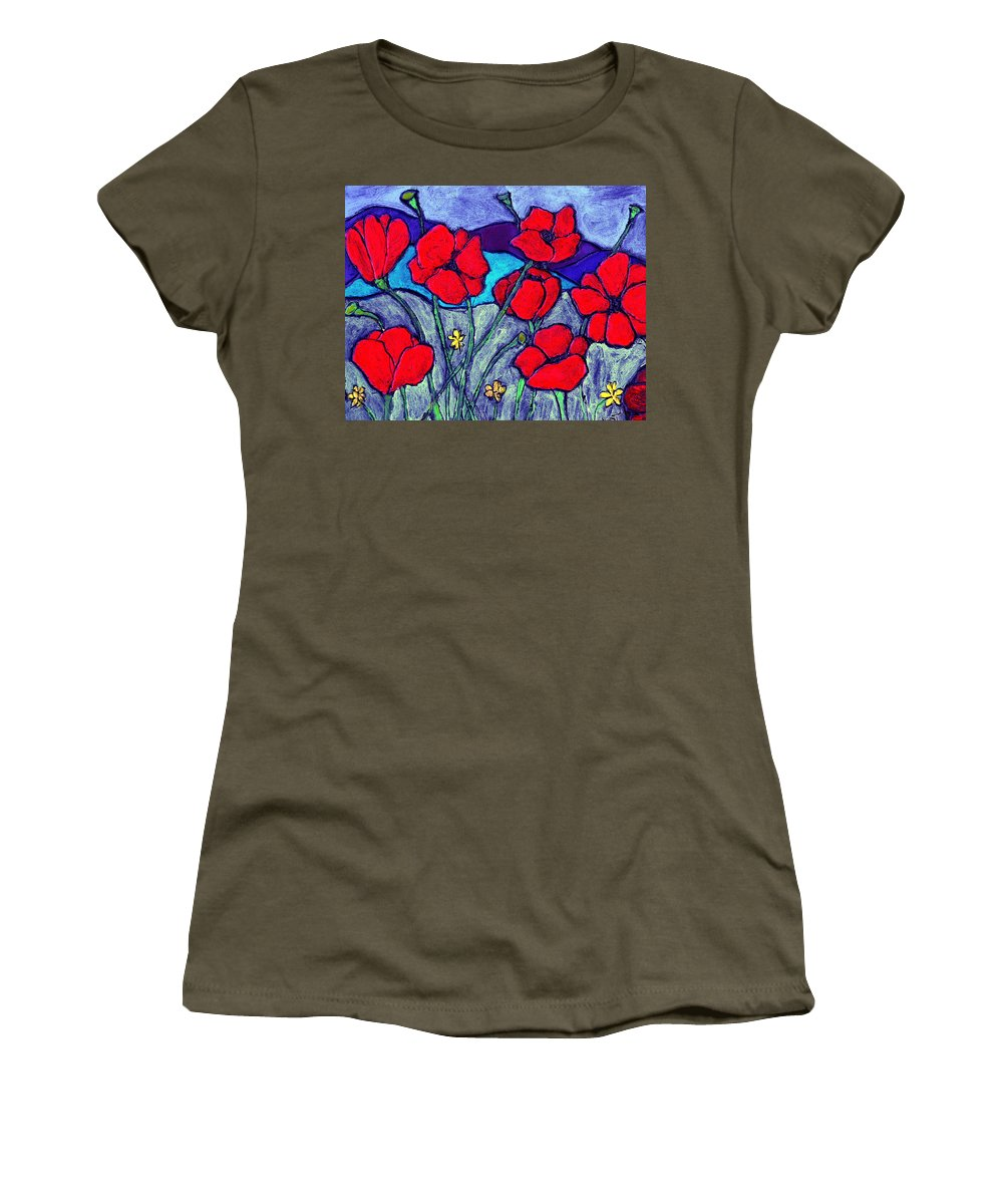 Flowers Women's T-Shirt featuring the painting Orange Red Poppies by Wayne Potrafka