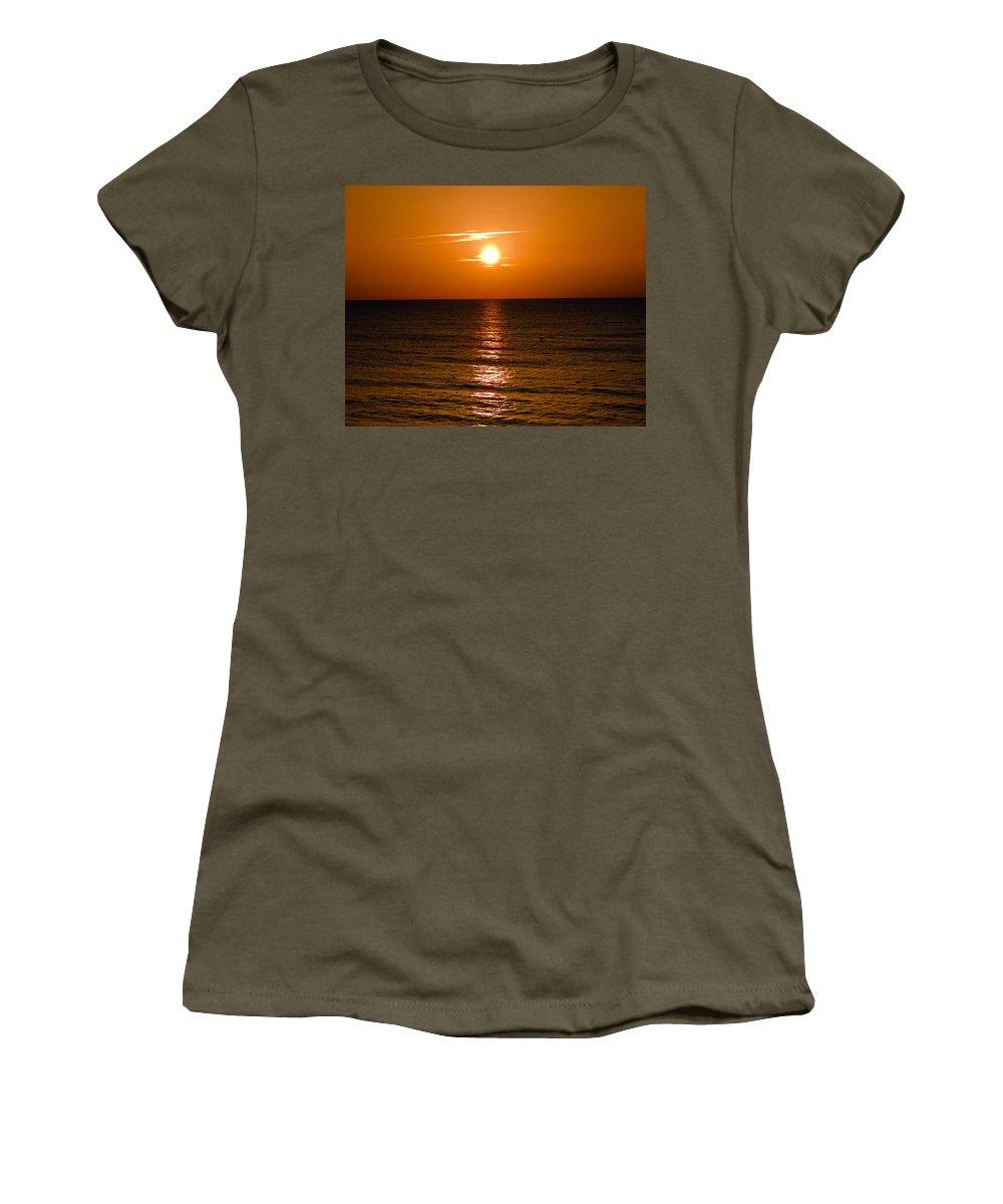 Sun; Rise; Sunrise; Orange; Florida; Morning; Solar; Ocean; Sea; Shore. Coast; Beach; Calm; Waves; S Women's T-Shirt (Athletic Fit) featuring the photograph Orange Sunrise Over A Florida Beach by Allan Hughes